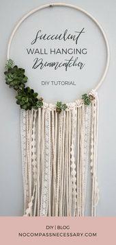 DIY Floral Wandbehang Dreamcatcher   – Wall Art