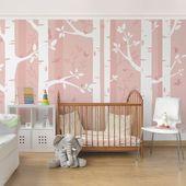 East Urban Home semi-gloss wallpaper birch forest with butterflies and birds Wayfair.de
