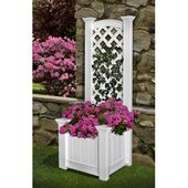 New England Arbors Kensington Rectangular Box Planter Vinyl Lattice Panel Trellis