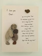 Pebbles art on canvas Great gift to show your love for your dad on fathers day o…
