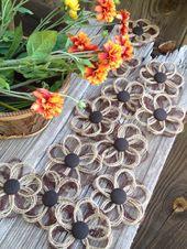 Rustikale Sackleinen Gänseblümchen Blumen-Set von 8-Bauernhaus Hochzeit – Verzierung – rustikale Blumen – Sackleinen Blumen – braune Blumen – rustikale Hochzeit