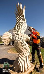 7 foot eagle carved in Pine