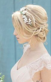 Wedding hairstyles updo messy flower crowns bridesmaid hair 37 ideas #hair #wedding #hairstyles