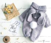 knitted baby romper, baby bunny costume, knitted baby clothes, newborn crochet outfit, baby winter clothes, baby Christmas gifts, photo prop  – Products