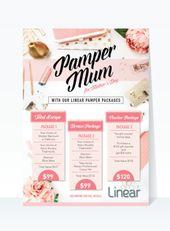 Hermoso folleto de póster femenino para el mercadeo del Día de la Madre. Oro y albaricoque …   – Business Flyer etc.