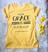 Tu gracia es suficiente camiseta, camiseta cristiana, regalos cristianos, te religiosa, tee de mujer, camisa de las escrituras, camiseta inspiración