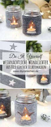 DIY weihnachtliche Windlichter mit Filz Stern und Tannenbaum – ~ DIY Inspirationen ~