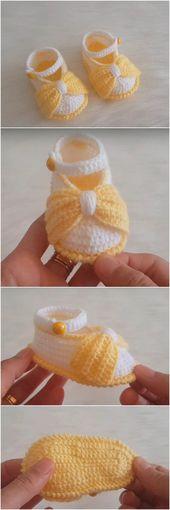 Zapatos de niña de ganchillo rápidos y cómodos, #Bebé #Cómodo #Crochet #fast #girl #shoes   – Frauen Schuhe
