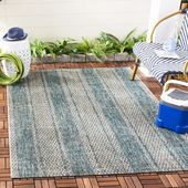 Courtyard Collection 5′-3″ X 7′-7″ Rug in Light Grey And Teal – Safavieh CY8736-37212-5
