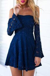 Blaue Spitze aus der Schulter Flare Kleid