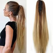 Women Fashion Claw Clip Long Straight Ponytail Hair Extensions Wig Hai