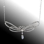 Elegant, organic diamond necklace set in platinum …