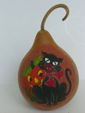 Halloween Black Cat Kürbis Kürbis Retro Folk Primitive