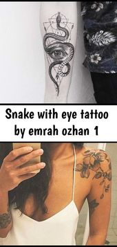 Snake with eye tattoo by emrah ozhan 1