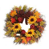 iStary Deko-Kranz Sonnenblume Maple Leaf Bowknot Weihnachtskranz Kranz Kürbis T…