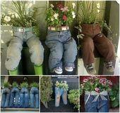Recycler les jeans dans des jardinières mignonnes et originales   – blue jean planters