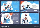 Business landing page. Web site with cartoon characters and online marketing concept. Vector illustrations modern layout finance and creative technolo…