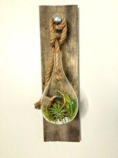 Articles similaires à Accrocher l'air plante terrarium en verre sur bois kit de bricolage décoration salon de récupération. Jardin vertical, jardin intérieur, vie en vert sur Etsy