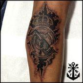 Black & Grey Real Madrid Tattoo instagram.com