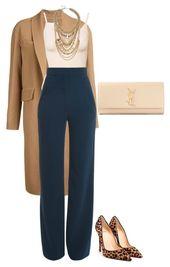 Camel-lange Jacke, marineblaue Hose mit weitem Bein und Leopardenschuhe