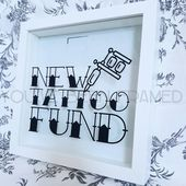 New tattoo fund, Money box frame, savings, glitter stripe background, Unique gift, new ink, alternative gift, punk, tattoo gifts, new ink