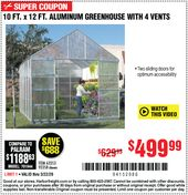 One Stop Gardens 10 Ft X 12 Ft Greenhouse With 4 Vents For 499 99 In 2020 Aluminium Greenhouse Greenhouse Harbor Freight Tools