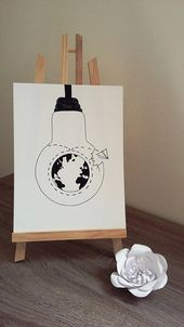 "Poster Illustration black and white bulb ""around the world"""