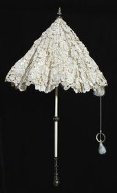 Parasol, the outer cover cut from high quality 17th century raised Venetian need…