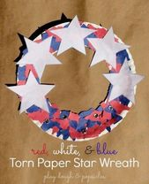 Ripped Paper Star Wreath. Red White & Blue. Kid Cr…