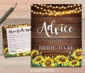 Advice for the Bride to Be Bridal Shower Game – Printable Yellow Rustic Sunflowe…