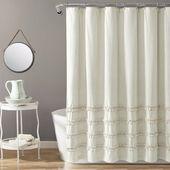 Vintage Streifen Garn gefärbt Baumwolle Duschvorhang Neutral Single 72 x 72 – üppige Dekor 16T004694   – Products