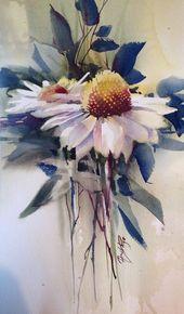"""Aquarellmalerei """"Rote Tulpen"""" von Julia Kirili…"""