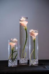Retractable Pink Calla Lily Flowers Wedding Centerpiece with Floating Candles and Acrylic Crystals Kit