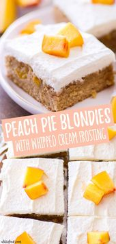 These homemade Peach Pie Blondies are one of the best summer desserts! A chewy b…