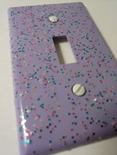 Lavender with Silver, Pink, & Turquoise Glitter / Bling Light Switch Plates, Outlet Covers, and Rockers / Kawaii Unicorn Décor /Nursery Room