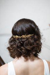 Gold Bridal Headband – Gold Wedding Headpiece – Gold Diadem – Gold Crown Bridal Hair Accessory