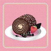 Cake. An illustration of decorated chocolate roll cake in white plate , #affilia… – Environmental Design Illustration