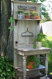 27 kreative Topfbank Ideen, um Gartenarbeit mehr Spaß zu machen