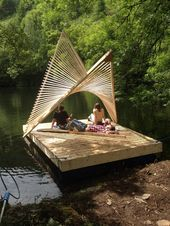 Architecture students on the Centre for Alternative Technology's Part 2 course have built a floating pavilion on a reservoir within the school's s…