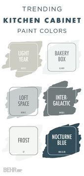 This collection of trending paint colors would look great on your kitchen cabine…