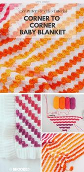 Baby Blanket Corner to Corner Baby Blanket Free Crochet Pattern #freecrochetpatterns #c2ccroc...