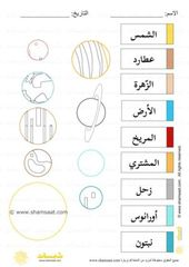 نسخة للتلوين كواكب المجموعة الشمسية موضوع الفضاء للاطفال Map Words Map Screenshot