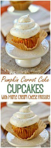 Kürbis-Karotten-Kuchen-Cupcakes mit Ahorn-Frischkäse-Zuckerguss – die Cupcakes, die Sie …