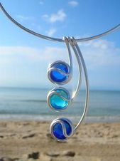Wire wrapped cabochon necklace. Craft ideas from LC.Pandahall.com Wire wrappe …