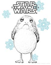 Star Wars The Last Jedi Porg Winter Coloring Page Christmas Or Hanukkah Too Star Wars Coloring Sheet Star Wars Drawings Star Wars Geek