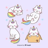 Kawaii unicorn character collection Free Vector