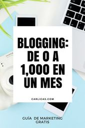 Marketing Digital para Bloggers – De 0 a 1,000 en el primer mes de tu blog