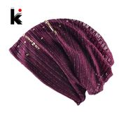 Fashion Lace Striped Rhinestones Beanie Hats For Women Casual Diamond Turban Bonnet Caps Female Thin Skullies E Gorros Mulheres – Skullies & Beanies