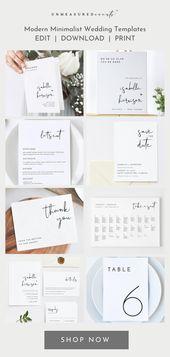 Moderne minimalistische Hochzeitseinladung und Briefpapier Instant Download Vorlagen für die DIY-Braut