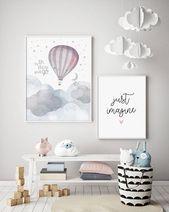 Oh, die Orte, die Sie gehen – Heißluftballon – Kindergarten Print – Baby Nursery – Wandkunst – Kinderzimmer – Mond & Sterne – Ammer – Abenteuer erwartet